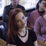 Clara Grosse nach der Vorstellung, Auftritt im Rahmen einer Mitarbeiterversammlung, Oldenburg, 2017